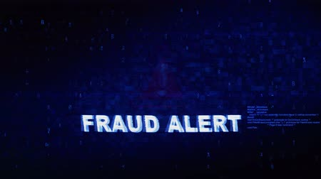 ter cuidado : FRAUD ALERT Text Digital Noise Glitch Effect Tv Screen Background. Login and Password With System Error Security ,Hacking Alert , Cyber Crime Attack Computer Error Distortion Message . Vídeos