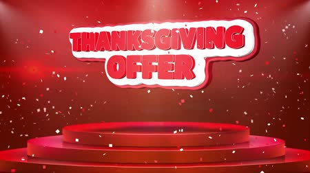 florete : Thanksgiving Offer Text Animation on 3d Stage Podium Carpet. Reval Red Curtain With Abstract Foil Confetti Blast, Spotlight, Glitter Sparkles, Loop 4k Animation.