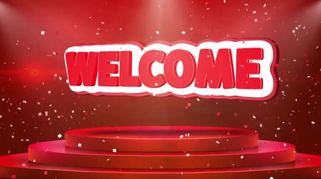 egyetért : Welcome Text Animation on 3d Stage Podium Carpet. Reval Red Curtain With Abstract Foil Confetti Blast, Spotlight, Glitter Sparkles, Loop 4k Animation. Stock mozgókép