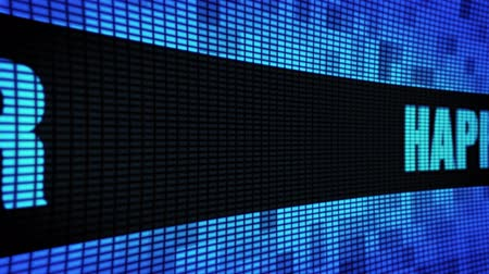 Новый год : Happy New Year Text Scrolling on Light Blue Digital LED Display Board Pixel Light Screen Looped Animation 4K Background. Sign Board, Blinking Light, Pixel Monitor, LED Wall Pannel
