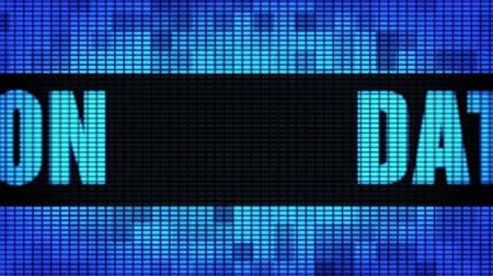 block chain : Data Encryption Front Text Scrolling on Light Blue Digital LED Display Board Pixel Light Screen Looped Animation 4K Background. Sign Board , Blinking Light, Pixel Monitor, LED Wall Pannel Stock Footage