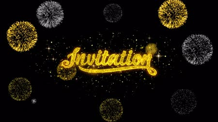 invite : Invitation Golden Greeting Text Appearance Blinking Particles with Golden Fireworks Display 4K for Greeting card, Celebration, Invitation, calendar, Gift, Events, Message, Holiday, Wishes .