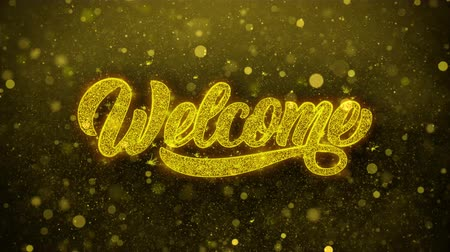 приехать : Welcome Greetings card Abstract Blinking Golden Sparkles Glitter Firework Particle Looped Background. Gift, card, Invitation, Celebration, Events, Message, Holiday, Festival Стоковые видеозаписи