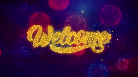 Войти : Welco meGreeting Text with Particles and Sparks Colored Bokeh Fireworks Display 4K. for Greeting card, Celebration, Party Invitation, calendar, Gift, Events, Message, Holiday, Wishes.