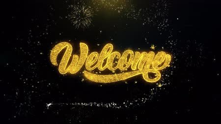 giveaway : Welcome Written Gold Glitter Particles Spark Exploding Fireworks Display 4K . Greeting card, Celebration, Party Invitation, calendar, Gift, Events, Message, Holiday, Wishes Festival