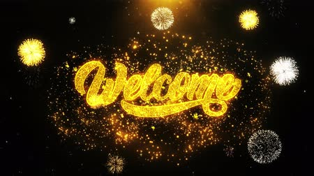 ação de graças : Welcome Text Sparks Particles Reveal from Golden Firework Display explosion 4K. Greeting card, Celebration, Party Invitation, calendar, Gift, Events, Message, Holiday, Wishes Festival
