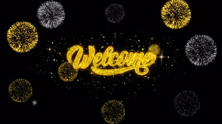 motivasyonel : Welcome Golden Greeting Text Appearance Blinking Particles with Golden Fireworks Display 4K for Greeting card, Celebration, Invitation, calendar, Gift, Events, Message, Holiday, Wishes .