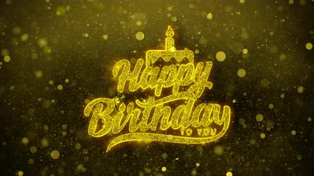 th : Happy Birthday to you Greetings card Abstract Blinking Golden Sparkles Glitter Firework Particle Looped Background. Gift, card, Invitation, Celebration, Events, Message, Holiday, Festival