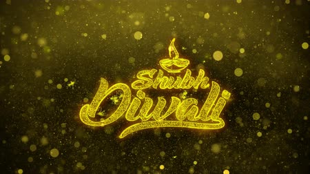 редактируемые : Shubh Diwali Greetings card Abstract Blinking Golden Sparkles Glitter Firework Particle Looped Background. Gift, card, Invitation, Celebration, Events, Message, Holiday, Festival