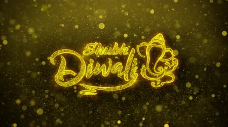 ganesha : Shubh Happy Diwali Greetings card Abstract Blinking Golden Sparkles Glitter Firework Particle Looped Background. Gift, card, Invitation, Celebration, Events, Message, Holiday, Festival