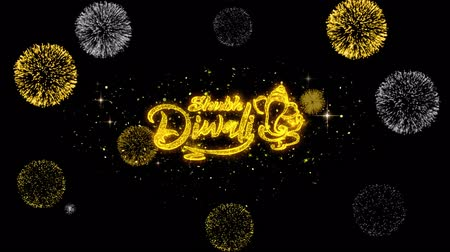 mángorlógép : Shubh Happy Diwali Golden Greeting Text Appearance Blinking Particles with Golden Fireworks Display 4K for Greeting card, Celebration, Invitation, calendar, Gift, Events, Message, Holiday, Wishes . Stock mozgókép