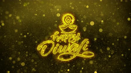 ganesha : Happy Diwali Diya Greetings card Abstract Blinking Golden Sparkles Glitter Firework Particle Looped Background. Gift, card, Invitation, Celebration, Events, Message, Holiday, Festival
