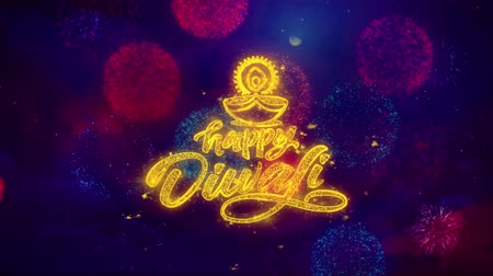 ganesha : Happy Diwali Diya Greeting Text with Particles and Sparks Colored Bokeh Fireworks Display 4K. for Greeting card, Celebration, Party Invitation, calendar, Gift, Events, Message, Holiday, Wishes. Stock Footage