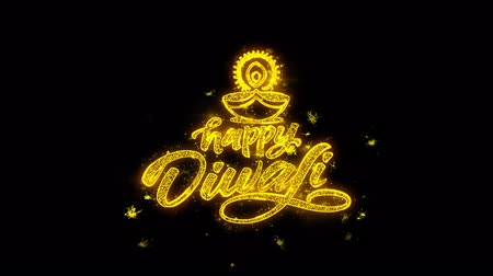 ganesha : Happy Diwali Diya Typography Written with Golden Particles Sparks Fireworks Display 4K. Greeting card, Celebration, Party Invitation, calendar, Gift, Events, Message, Holiday, Wishes Festival