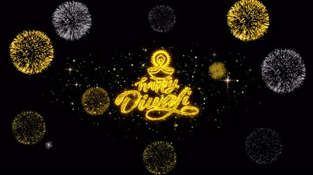 ganesha : Happy Diwali Diya Golden Greeting Text Appearance Blinking Particles with Golden Fireworks Display 4K for Greeting card, Celebration, Invitation, calendar, Gift, Events, Message, Holiday, Wishes .