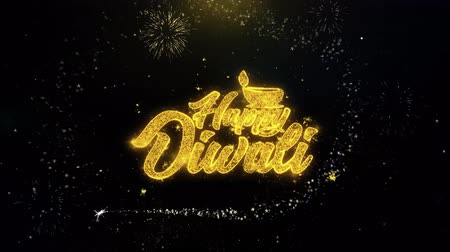 ganesha : Shubh Happy Diwali Written Gold Glitter Particles Spark Exploding Fireworks Display 4K . Greeting card, Celebration, Party Invitation, calendar, Gift, Events, Message, Holiday, Wishes Festival