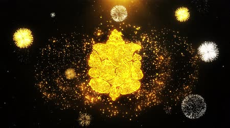 ganesha : Diwali Lord Ganesh Text Sparks Particles Reveal from Golden Firework Display explosion 4K Background Symbol Element Sign Stock Footage