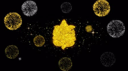ganesha : Diwali Lord Ganesh Symbol Element Sign Golden Greeting Text Appearance Blinking Particles with Golden Fireworks Display 4K Background