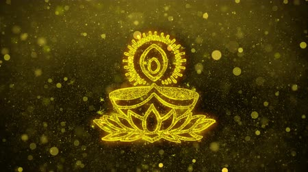 puja : Deepak Diya Lamp Symbol Element Sign Greetings card Abstract Blinking Golden Sparkles Glitter Firework Particle Looped Background.
