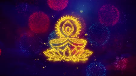 ganesha : Deepak Diya Lamp Greeting Text with Particles and Sparks Colored Bokeh Fireworks Display 4K Background Symbol Element Sign