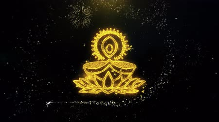 puja : Deepak Diya Lamp Written Gold Glitter Particles Spark Exploding Fireworks Display 4K Background Symbol Element Sign