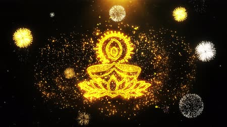 ganesha : Deepak Diya Lamp Text Sparks Particles Reveal from Golden Firework Display explosion 4K Background Symbol Element Sign Stock Footage