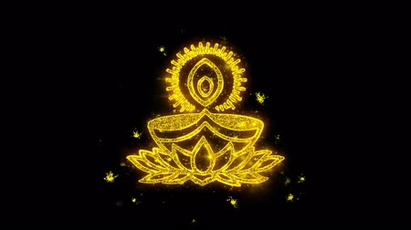 ganesha : Deepak Diya Lamp Typography Written with Golden Particles Sparks Fireworks Display 4K Background Symbol Element Sign Stock Footage