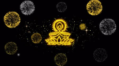 puja : Deepak Diya Lamp Symbol Element Sign Golden Greeting Text Appearance Blinking Particles with Golden Fireworks Display 4K Background Stock Footage