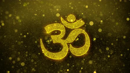 karma yoga : Om or Aum Shiva Symbol Element Sign Greetings card Abstract Blinking Golden Sparkles Glitter Firework Particle Looped Background. Stock Footage
