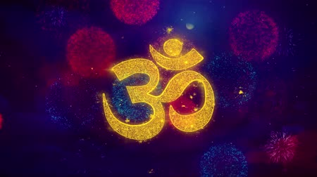 sanskrit : Om or Aum Shiva Greeting Text with Particles and Sparks Colored Bokeh Fireworks Display 4K Background Symbol Element Sign