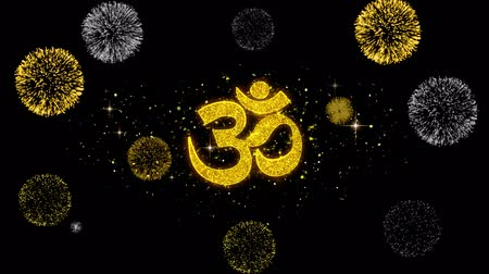 ganesha : Om or Aum Shiva Symbol Element Sign Golden Greeting Text Appearance Blinking Particles with Golden Fireworks Display 4K Background