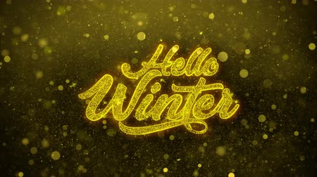 fráze : Hello Winter Greetings card Abstract Blinking Golden Sparkles Glitter Firework Particle Looped Background. Gift, card, Invitation, Celebration, Events, Message, Holiday, Festival