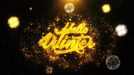 mani disegnate : Hello Winter Text Sparks Particles Reveal from Golden Firework Display explosion 4K. Greeting card, Celebration, Party Invitation, calendar, Gift, Events, Message, Holiday, Wishes Festival