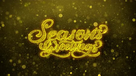 police de caractères : Seasons Greetings Greetings card Abstract Clignotant Golden Sparkles Glitter Firework Particle Looped Background. Cadeau, carte, invitation, célébration, événements, message, vacances, festival Vidéos Libres De Droits
