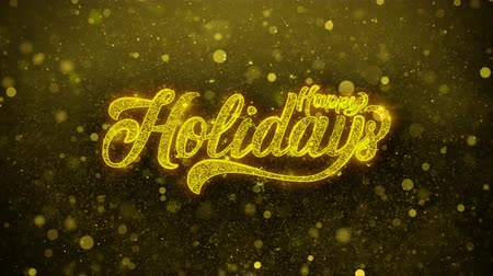 anos : Happy Holidays Greetings card Abstract Blinking Golden Sparkles Glitter Firework Particle Looped Background. Gift, card, Invitation, Celebration, Events, Message, Holiday, Festival