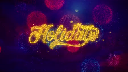 el yazısı : Happy Holidays Greeting Text with Particles and Sparks Colored Bokeh Fireworks Display 4K. for Greeting card, Celebration, Party Invitation, calendar, Gift, Events, Message, Holiday, Wishes.