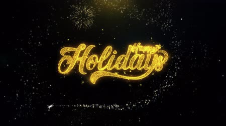 kaligrafia : Happy Holidays Written Gold Glitter Particles Spark Exploding Fireworks Display 4K . Greeting card, Celebration, Party Invitation, calendar, Gift, Events, Message, Holiday, Wishes Festival