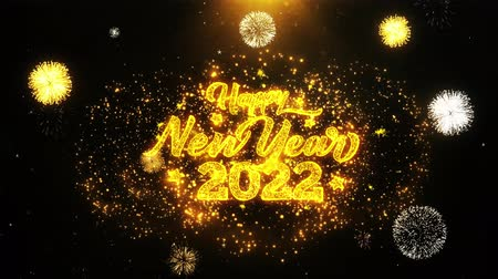 ano novo chinês : Happy New Year 2022 Text Sparks Particles Reveal from Golden Firework Display explosion 4K. Greeting card, Celebration, Party Invitation, calendar, Gift, Events, Message, Holiday, Wishes Festival Vídeos