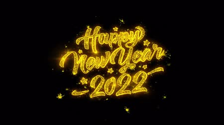 レビュー : New Year 2022 Typography Written with Golden Particles Sparks Fireworks Display 4K. Greeting card, Celebration, Party Invitation, calendar, Gift, Events, Message, Holiday, Wishes Festival