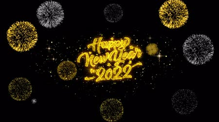 ano novo chinês : New Year 2022 Golden Greeting Text Appearance Blinking Particles with Golden Fireworks Display 4K for Greeting card, Celebration, Invitation, calendar, Gift, Events, Message, Holiday, Wishes .
