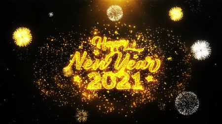 biznesmen : 2021 Happy New Year Text Sparks Particles Reveal from Golden Firework Display explosion 4K. Greeting card, Celebration, Party Invitation, calendar, Gift, Events, Message, Holiday, Wishes Festival