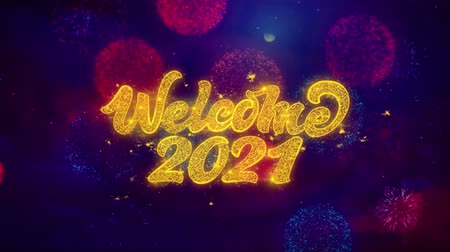 1月 : Welcome 2021 Greeting Text with Particles and Sparks Colored Bokeh Fireworks Display 4K. for Greeting card, Celebration, Party Invitation, calendar, Gift, Events, Message, Holiday, Wishes. 動画素材