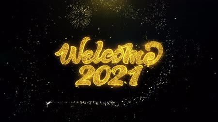 ano novo chinês : Welcome 2021 Written Gold Glitter Particles Spark Exploding Fireworks Display 4K . Greeting card, Celebration, Party Invitation, calendar, Gift, Events, Message, Holiday, Wishes Festival