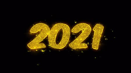ano novo chinês : 2021 Happy new year Typography Written with Golden Particles Sparks Fireworks Display 4K. Greeting card, Celebration, Party Invitation, calendar, Gift, Events, Message, Holiday, Wishes Festival Vídeos