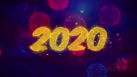 Поздравляю : 2020 Happy New Year Greeting Text with Particles and Sparks Colored Bokeh Fireworks Display 4K. for Greeting card, Celebration, Party Invitation, calendar, Gift, Events, Message, Holiday, Wishes. Стоковые видеозаписи