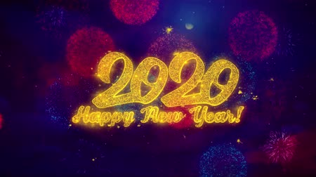 ano novo chinês : Happy New Year 2020 Greeting Text with Particles and Sparks Colored Bokeh Fireworks Display 4K. for Greeting card, Celebration, Party Invitation, calendar, Gift, Events, Message, Holiday, Wishes. Vídeos