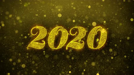 1月 : Happy New Year 2020 Greetings card Abstract Blinking Golden Sparkles Glitter Firework Particle Looped Background. Gift, card, Invitation, Celebration, Events, Message, Holiday, Festival