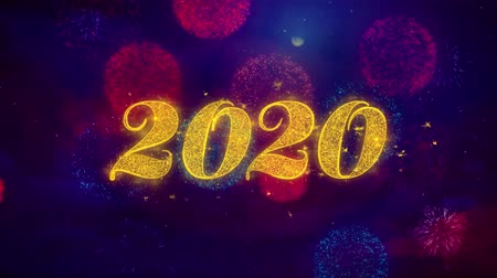 calendario cinese : Happy New Year 2020 Greeting Text with Particles and Sparks Colored Bokeh Fireworks Display 4K. for Greeting card, Celebration, Party Invitation, calendar, Gift, Events, Message, Holiday, Wishes. Filmati Stock