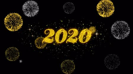 ano novo chinês : Happy New Year 2020 Golden Greeting Text Appearance Blinking Particles with Golden Fireworks Display 4K for Greeting card, Celebration, Invitation, calendar, Gift, Events, Message, Holiday, Wishes . Vídeos