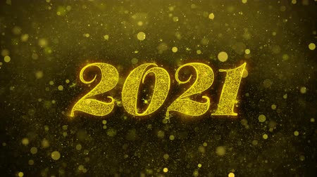 gratulací : Happy New Year 2021 Greetings card Abstract Blinking Golden Sparkles Glitter Firework Particle Looped Background. Gift, card, Invitation, Celebration, Events, Message, Holiday, Festival
